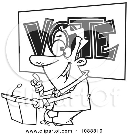 Clipart Outlined Male Politician Giving A Speech Before An Election - Royalty Free Vector Illustration by toonaday