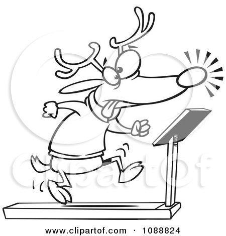 Clipart Outlined Christmas Reindeer Running On A Treadmill - Royalty Free Vector Illustration by toonaday