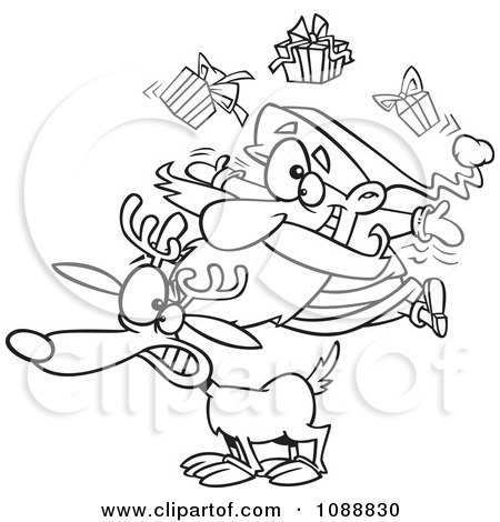 Clipart Outlined Christmas Santa Juggling Gifts On A Reindeer - Royalty Free Vector Illustration by toonaday
