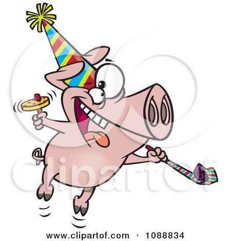 Clipart New Year Party Pig - Royalty Free Vector Illustration by toonaday