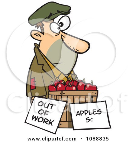 Clipart Homeless Man Trying To Sell Apples - Royalty Free Vector Illustration by toonaday