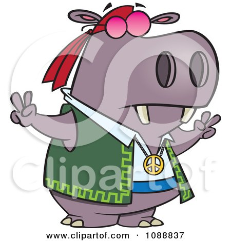 Clipart Purple Hippie Hippo Gesturing Peace - Royalty Free Vector Illustration by toonaday