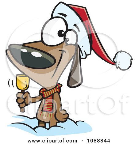 Clipart Christmas Dog Ringing A Bell For Donations - Royalty Free Vector Illustration by toonaday