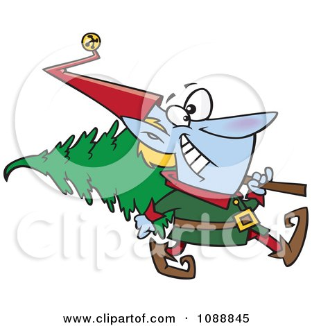 Clipart Christmas Elf Carrying A Tree - Royalty Free Vector Illustration by toonaday
