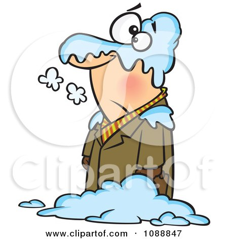 Clipart Man In A Blanket Of Snow - Royalty Free Vector Illustration by toonaday