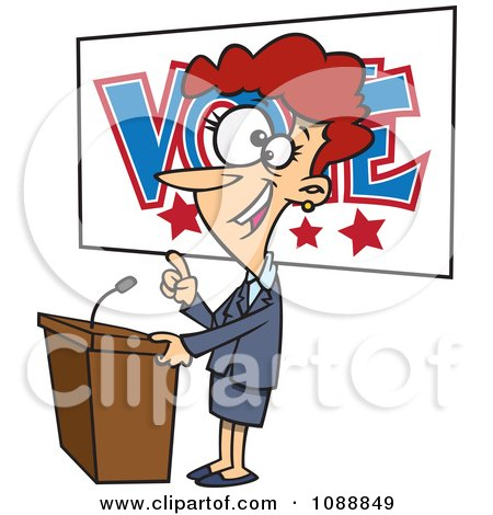 Clipart Female Politician Giving A Speech Before An Election - Royalty Free Vector Illustration by toonaday