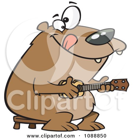 Clipart Bear Playing A Ukelele - Royalty Free Vector Illustration by toonaday