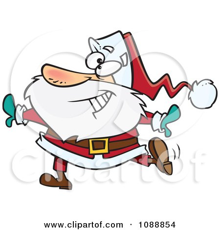 Clipart Christmas Santa Dancing - Royalty Free Vector Illustration by toonaday
