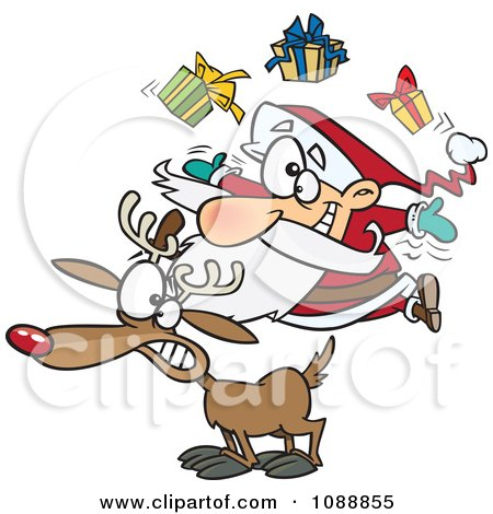 Clipart Christmas Santa Juggling Gifts On A Reindeer - Royalty Free Vector Illustration by toonaday