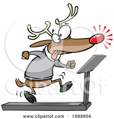 Clipart Christmas Reindeer Running On A Treadmill - Royalty Free Vector Illustration by toonaday