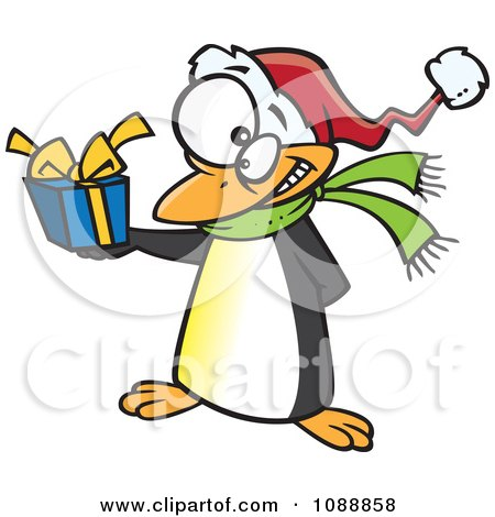 Clipart Christmas Penguin Giving A Present - Royalty Free Vector Illustration by toonaday