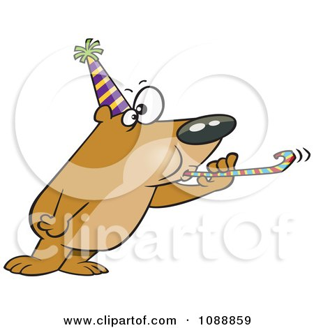 Clipart New Year Party Bear - Royalty Free Vector Illustration by toonaday