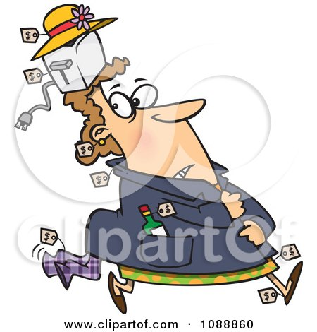 Clipart Kleptomaniac Female Shoplifter With Goods Stashed In Her Hat And Clothes - Royalty Free Vector Illustration by toonaday