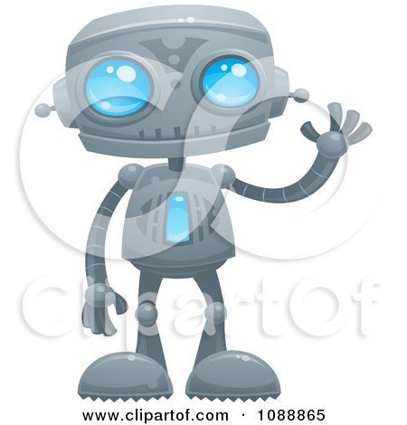 Clipart Waving Blue Eyed Robot - Royalty Free Vector Illustration by John Schwegel