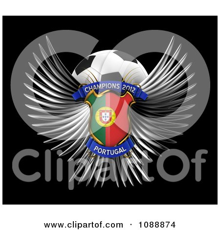 Clipart 3d Winged Portugal Shield And Soccer Ball - Royalty Free CGI Illustration by stockillustrations