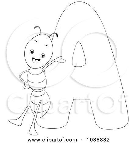 Clipart Outlined A Is For Ant Coloring Page - Royalty Free Vector Illustration by BNP Design Studio