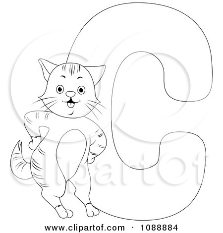 Royalty free rf c is for cat clipart illustrations for C for cat coloring page