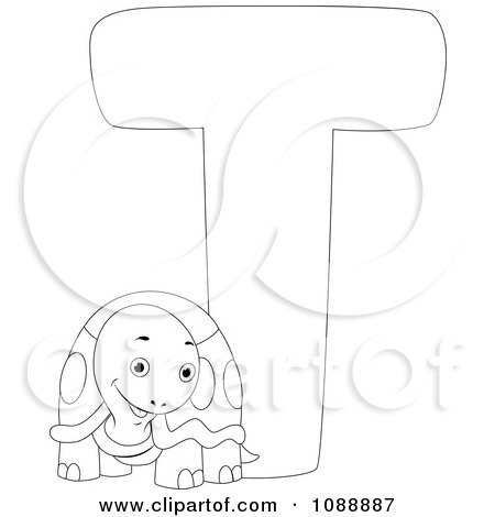 Clipart Outlined T Is For Turtle Coloring Page - Royalty Free Vector Illustration by BNP Design Studio