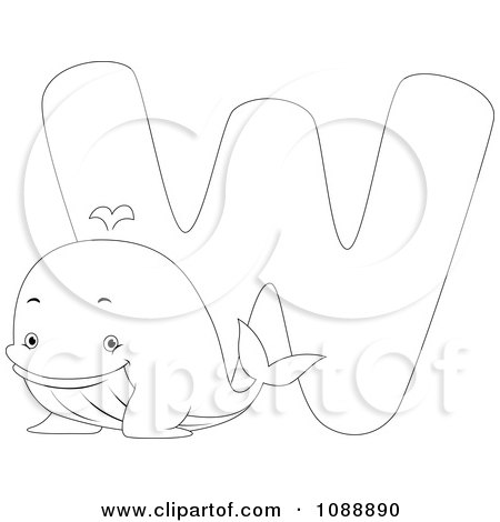 Clipart Outlined W Is For Whale Coloring Page - Royalty Free Vector Illustration by BNP Design Studio