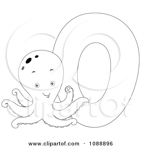 Clipart Outlined O Is For Octopus Coloring Page - Royalty Free Vector Illustration by BNP Design Studio
