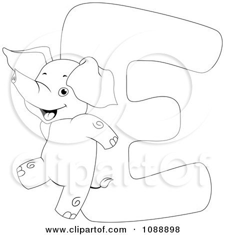 Clipart Outlined E Is For Elephant Coloring Page - Royalty Free ...