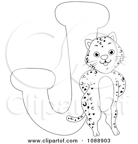 clipart outlined j is for jaguar coloring page royalty free vector by bnp design studio