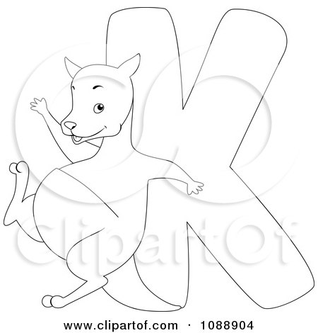 Clipart Outlined K Is For Kangaroo Coloring Page - Royalty Free Vector Illustration by BNP Design Studio