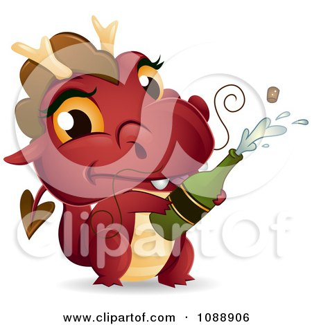 Clipart Red New Year Dragon Popping Champagne - Royalty Free Vector Illustration by BNP Design Studio