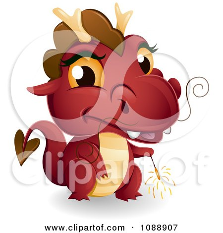 Clipart Red New Year Dragon Holding A Sparkler - Royalty Free Vector Illustration by BNP Design Studio