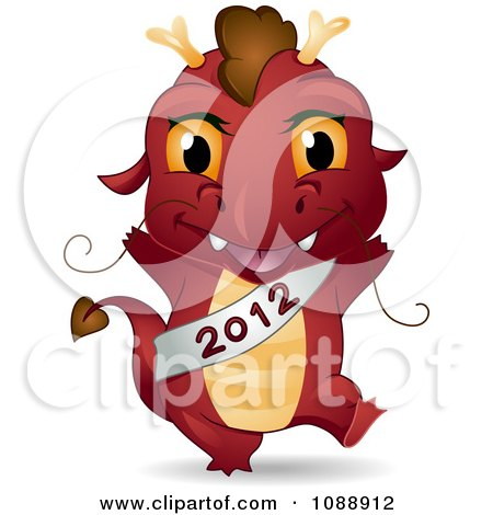 Clipart Red Dragon Wearing A 2012 Sash - Royalty Free Vector Illustration by BNP Design Studio