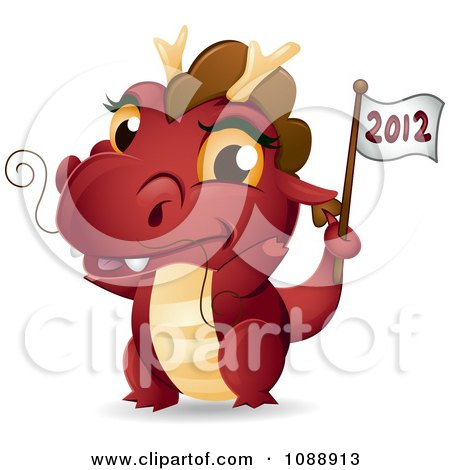 Clipart Red Dragon Waving A 2012 Flag - Royalty Free Vector Illustration by BNP Design Studio