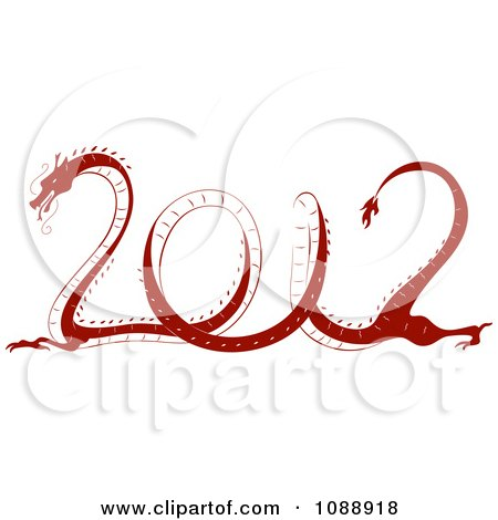 Clipart Red 2012 New Year Dragon - Royalty Free Vector Illustration by BNP Design Studio