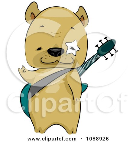 Clipart French Bulldog Guitarist - Royalty Free Vector Illustration by BNP Design Studio