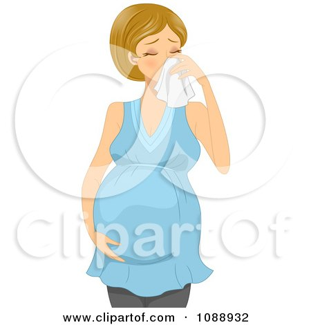Clipart Sick Pregnant Woman Blowing Her Nose - Royalty Free Vector Illustration by BNP Design Studio