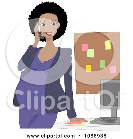 Black Pregnant Woman Talking On A Phone In Her Office Posters, Art Prints