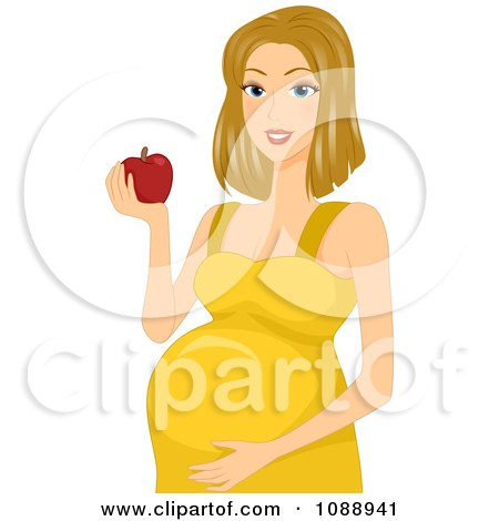 Clipart Beautiful Pregnant Woman Eating An Apple And Holding Her Belly - Royalty Free Vector Illustration by BNP Design Studio