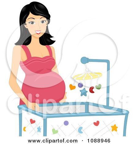 Clipart Pregnant Woman Standing By A Crib - Royalty Free Vector Illustration by BNP Design Studio