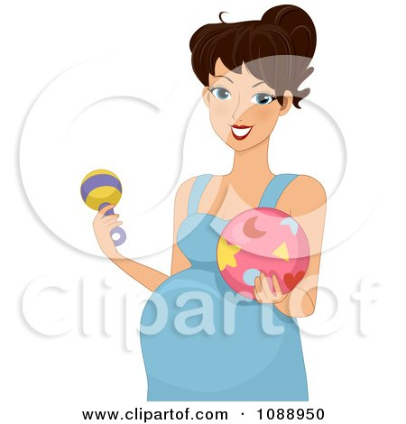 Clipart Pregnant Woman Holding A Rattle And Baby Ball - Royalty Free Vector Illustration by BNP Design Studio