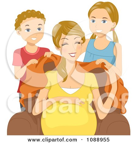Clipart Son And Daughter Covering Their Pregnant Mom With A Blanket - Royalty Free Vector Illustration by BNP Design Studio