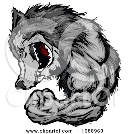 Clipart Flexing Wolf Mascot - Royalty Free Vector Illustration by Chromaco