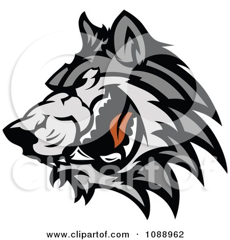 Clipart Angry Wolf Mascot - Royalty Free Vector ...