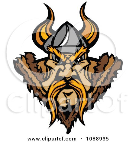 Clipart Tough Viking Warrior Face - Royalty Free Vector Illustration by Chromaco