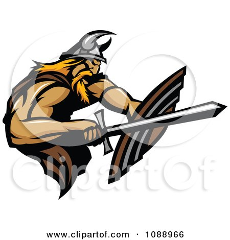 Clipart Viking Warrior Using A Sword And Shield - Royalty Free Vector Illustration by Chromaco