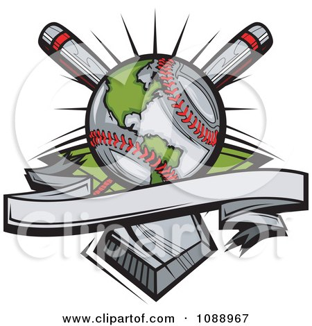 Clipart Baseball Globe With Crossed Bats Over A Home Plate - Royalty Free Vector Illustration by Chromaco