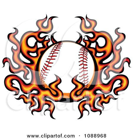 Clipart Baseball And Flame Wings - Royalty Free Vector Illustration by Chromaco