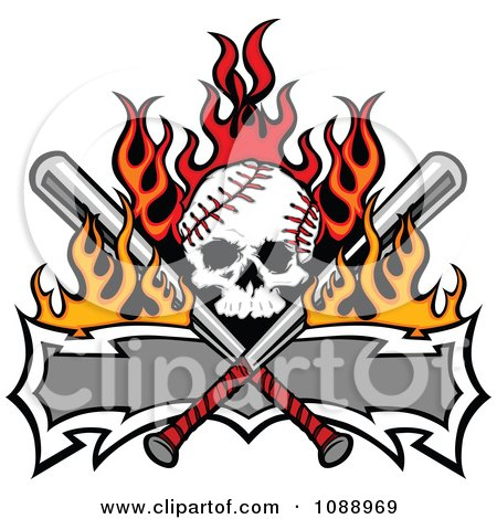 Clipart Fiery Baseball Skull With Crossed Bats And A Banner - Royalty Free Vector Illustration by Chromaco