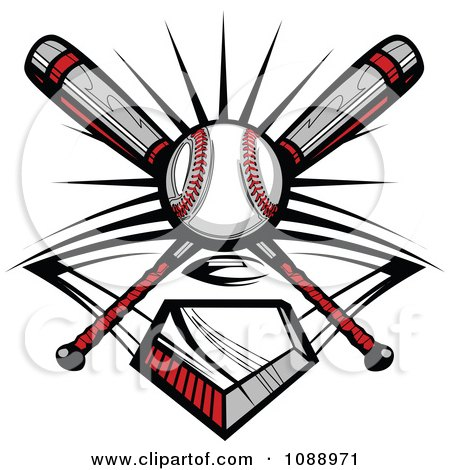 Clipart Crossed Baseball Bats A Ball And Diamond - Royalty Free Vector Illustration by Chromaco