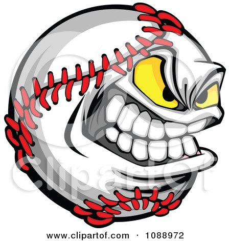 Clipart Tough Baseball Mascot - Royalty Free Vector Illustration by Chromaco
