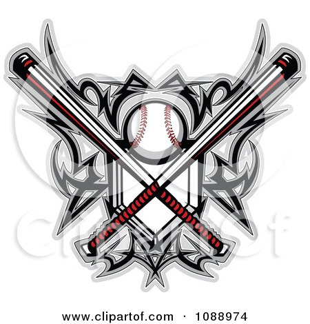 Clipart Tribal Baseball Home Plate With Crossed Bats And Designs - Royalty Free Vector Illustration by Chromaco