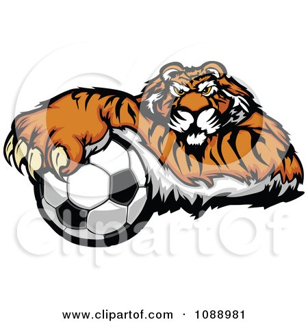 Clipart Tiger Soccer Mascot Resting On A Ball - Royalty Free Vector Illustration by Chromaco